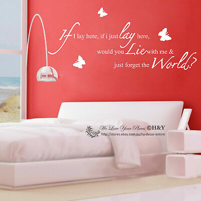 Wall Quote Removable Stickers Vinyl Decal Art Mural Home Decor -  If I Lay Here  • 8.10£