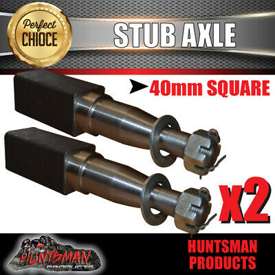 AU26 • Buy X2 Trailer Stub Axle 40mm X 200mm Suit LM Bearings With Nut, Washer & Split Pin