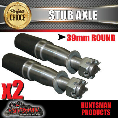 AU19 • Buy X2 Trailer Stub Axle 39mm X 200mm Suit LM Bearings With Nut, Washer & Split Pin