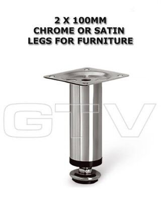 2 X Adjustable Plinth Legs In Chrome/Satin For Furniture Sofa Cabinet NM-100 • 5.99£