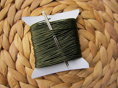 £3.90 • Buy VERY STRONG 3/4mm THICK SEWING THREAD FOR HAND STITCHING + 2 NEEDLES Khaki Green