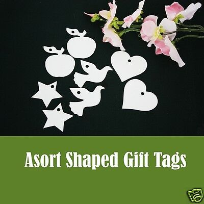 Gift Tags White & Ivory 9 Shapes Kraft Paper Tag Card Label 10-50-100 Per Pack • 0.99£