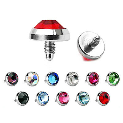 Gem Micro Dermal Anchor Surface Head Implant Top 316L Surgical Steel Choose Size • 2.85£