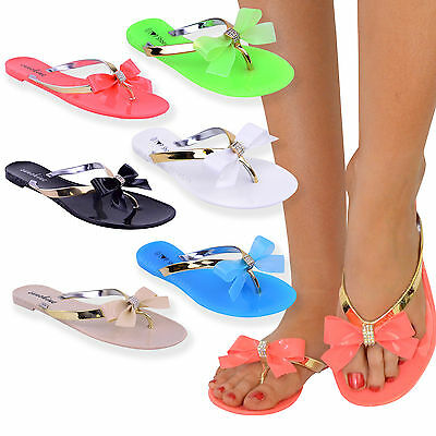 Womens Ladies Toe Bow Diamante Jelly Summer Flat Flip Flop Thong Sandals Size • 9.99£