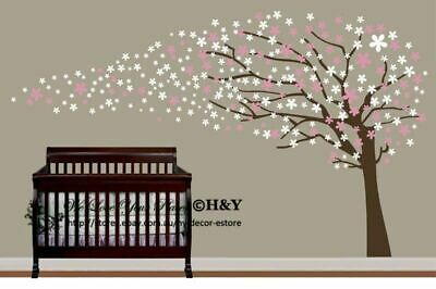 Cot Side Blowing Tree Flower Blossom Removable Wall Stickers Kids Nursery Decor • 21.81£