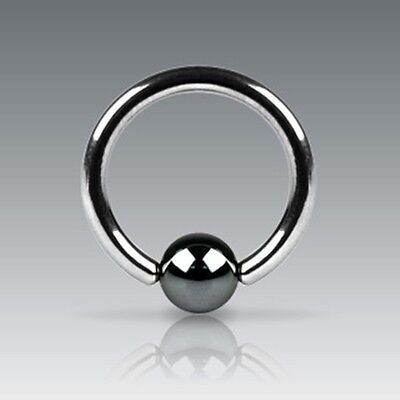 New Surgical Steel Captive Bead Ring BCR With Hematite Ball Tragus Helix Eyebrow • 2.38£