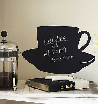 $11.99 • Buy WALLIES CUP & SAUCER CHALKBOARD Wall Sticker BIG Decal With Chalk Coffee Decor