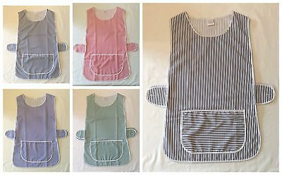 New Ladies Striped Catering Overall Tabard Cleaning Apron Front Pocket *6 Sizes • 5.65£