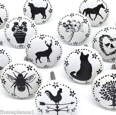 These Please Ceramic China Clock Flower Butterfly Stag Door Knobs Handles Drawer • 1.75£