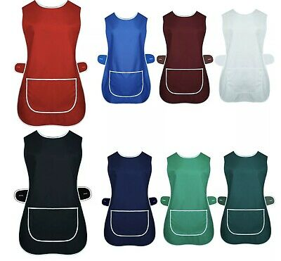 New Ladies Poly/cotton Front Pocket Plain Overall Tabard Apron *11 Colours* • 5.85£