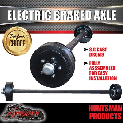AU390 • Buy ELECTRIC BRAKED TRAILER AXLE 40MM SQUARE COMPLETE. 1000KG Camper/caravan Part