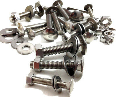 M5 A2 Stainless Steel Cup Square Carriage Bolts Coach Screws Washers & Full Nuts • 2.99£