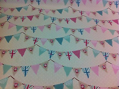 FRYETT`S Cotton Pink BUNTING, Union Jack Fabric For Curtain/Upholstery,Crafts, • 9.50£