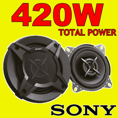 SONY 420W TOTAL 2WAY 4 INCH 10cm CAR/VAN DOOR/SHELF COAXIAL SPEAKERS Grills NEW • 23.99£