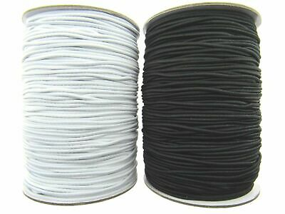 $ CDN7.37 • Buy ROUND CORD ELASTIC / 1mm / 2mm / 3mm / BLACK Or WHITE - BEST  QUALITY UK MADE