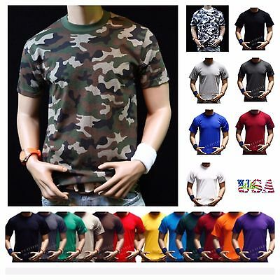 $12.99 • Buy Men Big And Tall Heavy Weigh Plain T-Shirt Crew Neck Camo Basic Solid Tee S-7X