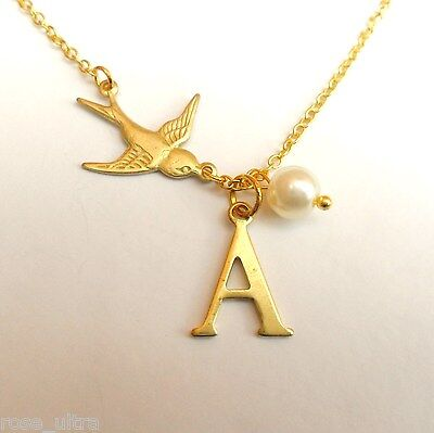 £4.19 • Buy Personalised Initial Alphabet Letter Necklace, Rockabilly Swallow, Vintage Bird