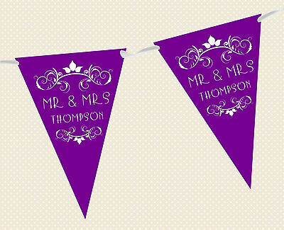 PERSONALISED WEDDING BUNTING - BANNER - REGAL DESIGN Choice Of Flag Colours • 5.95£