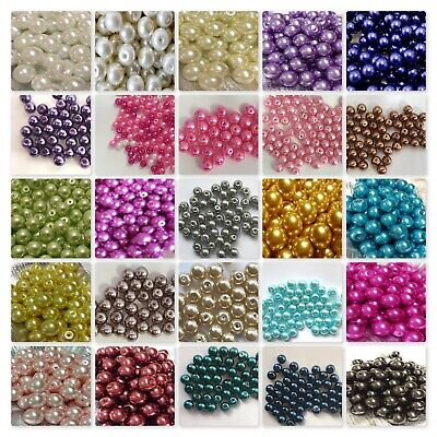 BUY 3 GET 3 FREE 200x 4mm 100x 6mm 50x 8mm 25x 10mm Glass Pearl Beads UK SELLER • 1.50£