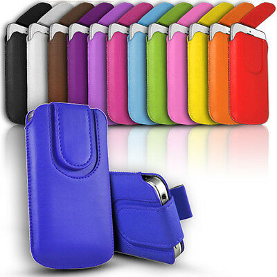 £2.99 • Buy Button Premium PU Leather Pull Tab Pouch Case Cover For Various Mobile Phones