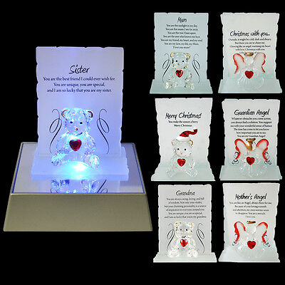 New Glass Crystal Ornaments Bear Gift Set Poem Poetic Writing Message Angel Xmas • 4.99£