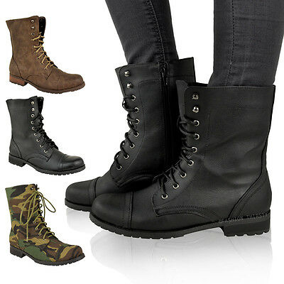 £21.99 • Buy Ladies Womens Low Heel Flat Lace Up Biker Army Military Combat Ankle Boots Size