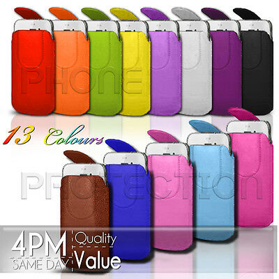 £2.99 • Buy Magnet Button Leather Pull Tab Case Cover Pouch Fits Various Alcatel Mobiles