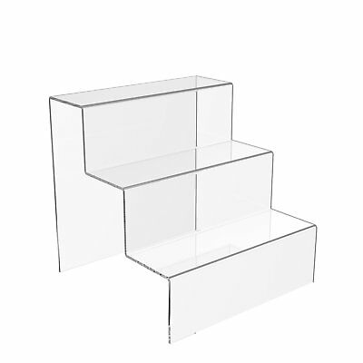 3 Step Display Stand Counter Retail Riser Acrylic Nail Polish Jewellery Plinth • 12.90£