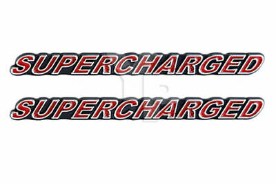 $22.67 • Buy Supercharged Engine Emblems Badges Logos Chrome Trimmed & Red - 5  Long Pair