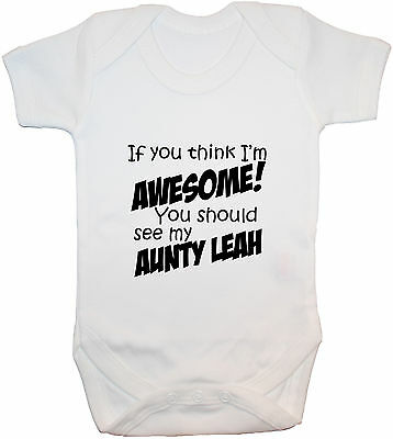 £8.99 • Buy Personalised Awesome Aunty Baby Bodysuit Romper T-Shirt Vest 0-24m Gift Boy Girl