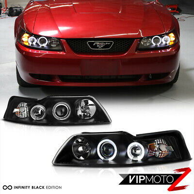 $122.41 • Buy 1999 2000 2001 2002 2003 2004 Ford Mustang V6 V8 Black Halo Rim Headlights Lamps