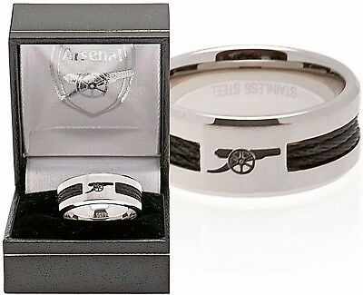 £21.45 • Buy Arsenal Fc Stainless Steel Black Inlay Band Ring Complete In Gift Box Afc
