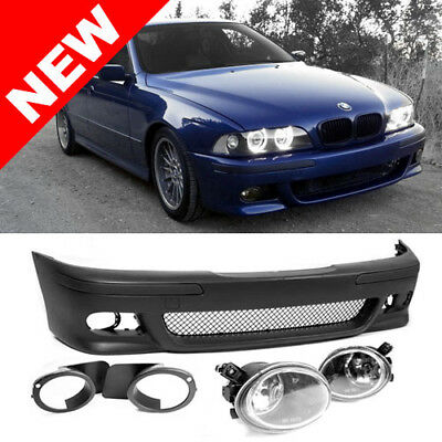 $163.97 • Buy 97-03 Bmw E39 5-series M5 Style Front Bumper W/ Clear Ecode Fog Lights + Covers