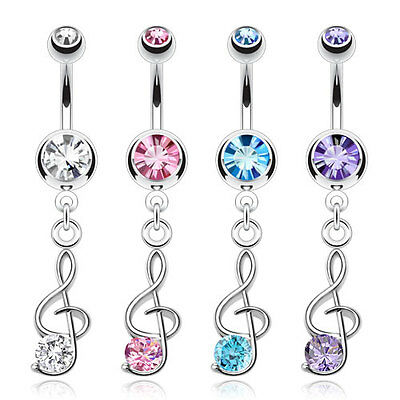 Surgical Steel Dangle Gem Treble Clef Music Note Belly Bar / Navel Ring • 3.69£
