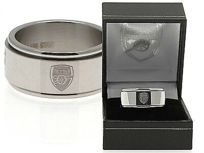 £19.95 • Buy Arsenal Fc Club Crested Stainless Steel Spinner Band Ring In Gift Box Afc