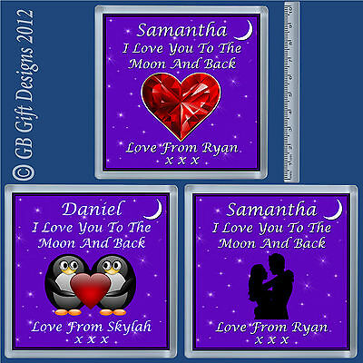 Personalised Coaster Love You To Moon Xmas Birthday Valentines Romantic Gift  • 3.25£