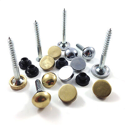 £3.39 • Buy Mirror Screws - Choice Of Discs Or Dome Caps - Brass, Chrome Or Satin Finish *