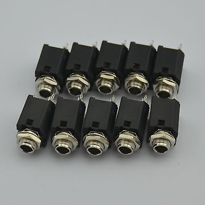 $ CDN14.10 • Buy 10PCS X 1/4  6.35mm Stereo Jack Socket Audio Plug For Guitar Pedal/amp/ Diy