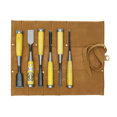 Japanese Chu-Gata Nomi Bench Chisels 6pc DT710230 + Leather Chisel Roll • 347.03£