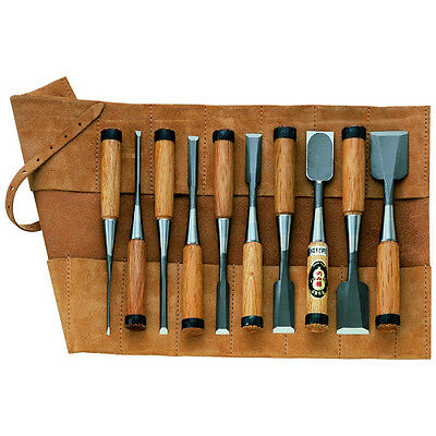 Japanese HSS Chisels For Cabinetmakers 10pc + Leather Chisel Roll DT718941 • 475.17£