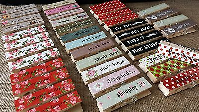 £3.95 • Buy Vintage Chic Magnetic Memo Wood Pegs Paper Clips Shabby Fridge Magnet Magnets