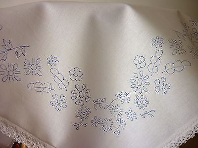 Embroidery Tablecloth Printed Flower Border Cotton Lace Edge 22 X22  CSOO37 • 12£