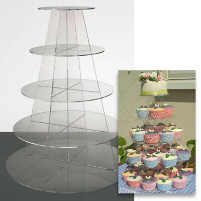 £25 • Buy Cupcake Stand 5 TIER ROUND - Clear Acrylic Display Tower For Wedding & Party UK