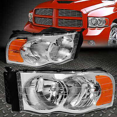 $72.22 • Buy For 02-05 Dodge Ram 1500 2500 3500 Chrome Housing Amber Corner Headlight Lamps