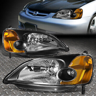 $71.85 • Buy For 01-03 Honda Civic Black Housing Amber Corner Headlight Replacement Headlamp