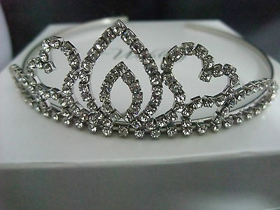 SILVER TIARA , HEART DIAMANTÉ STYLE, WEDDING, PROM,  PAGEANT QUEEN New Boxed • 16.99£