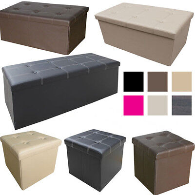 Large Ottoman Faux Leather Stool Folding Seat Chest Foldable Storage Box Foot • 10.95£
