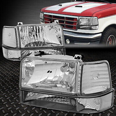 For 1992 1996 Ford F150 F250 F350 Chrome Per Headlights Clear