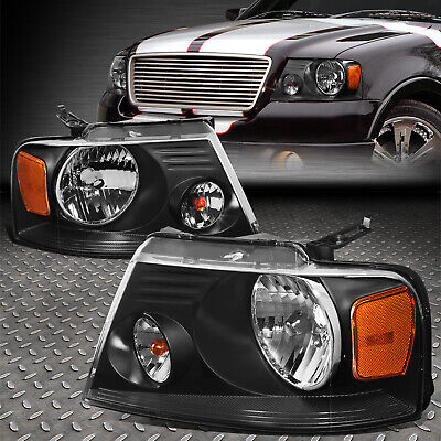 $65.88 • Buy For 04-08 Ford F150 Lincoln Mark Lt Black Housing Amber Corner Headlight Lamps