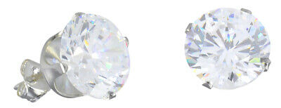 $7.59 • Buy Sterling Silver Mens Earrings, Round CZ Studs Prong Set- 1 Pair